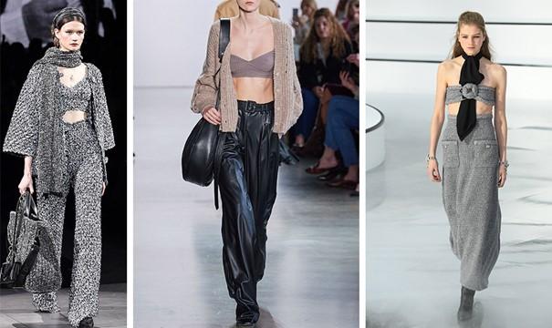 Секси бралетите на тазгодишните модни подиуми!  Носете ги с плетени якета и жилетки!  Тотална визия от плетено сиво, Dolce & Gabbana // Плетен сутиен с жилетка и кожени широки панталони, Джонатан Шанкай // Секси женственост, плетен сив сутиен и дълга плетена пола, съчетана с черен шал като вратовръзка, Chanel